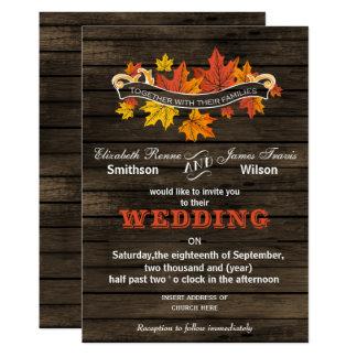 Convites rústicos do casamento outono de Barnwood Convite 12.7 X 17.78cm