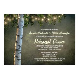 Convites rústicos do jantar de ensaio da árvore de