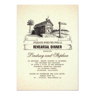 Convites rústicos do jantar de ensaio do celeiro