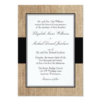 Convites rústicos formais do casamento do preto de