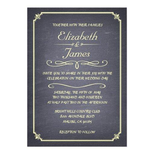 Convites simples do casamento do quadro do vintage