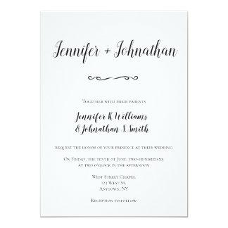 Convites simples do casamento do roteiro