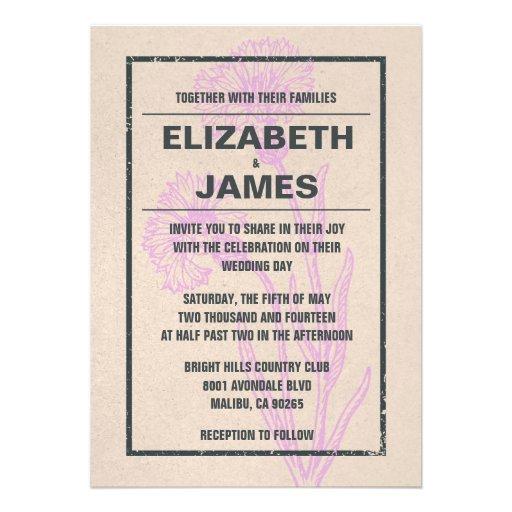 Convites simples do casamento do vintage rústico