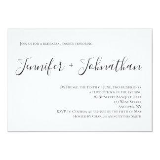 Convites simples do jantar de ensaio da caligrafia