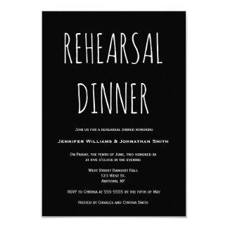 Convites simples pretos do jantar de ensaio