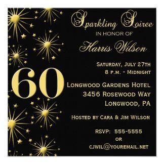 Convites Sparkling do aniversário da reunião 60th