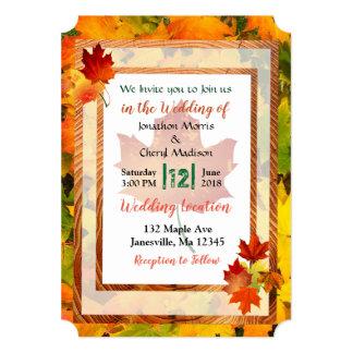 Convites temáticos do casamento do outono bonito