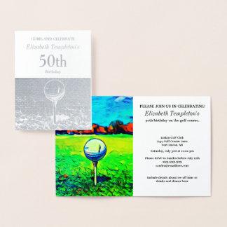 Convites temáticos Golfing do aniversário da folha