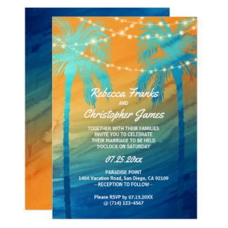 Cartão Convites tropicais azuis do casamento da cerceta