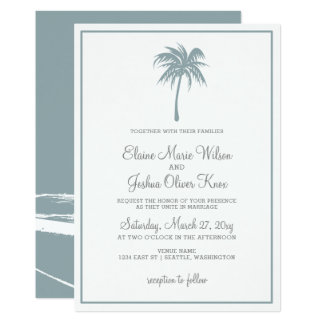 Convites tropicais azuis empoeirados do casamento