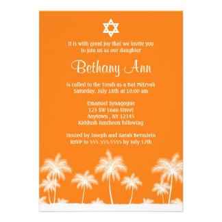 Convites tropicais de Mitzvah do bastão alaranjado