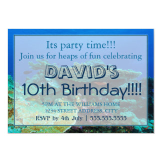 Convites tropicais do aniversário do mar coral dos