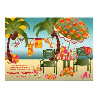 Convites tropicais do baile de formatura da praia