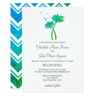 Convites tropicais do casamento da palmeira do