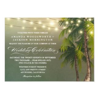 Convites tropicais do casamento da palmeira leve