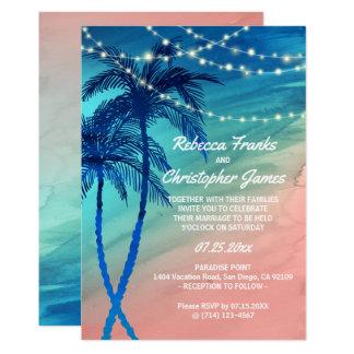 Cartão Convites tropicais do casamento do azul & do