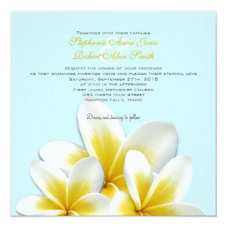 Convites tropicais do casamento do Frangipani do