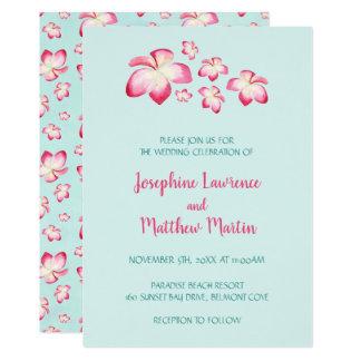 Convites tropicais do casamento do Plumeria