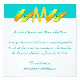 Convites tropicais do casamento dos chinelos