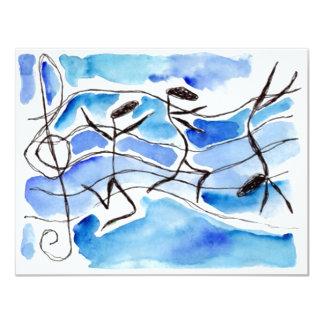 Convites vazios antropomórficos das notas musicais