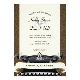 Convites velhos do casamento tema damasco de Brown