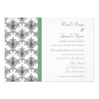 Convites verdes brancos pretos do casamento tema d