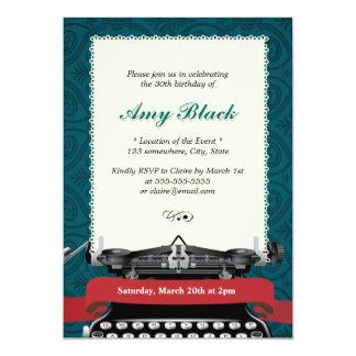 Convites verdes do aniversário da máquina de