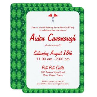Convites verdes do aniversário de criança do golfe