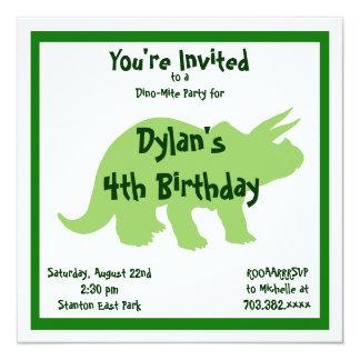 Convites verdes do aniversário do dinossauro do
