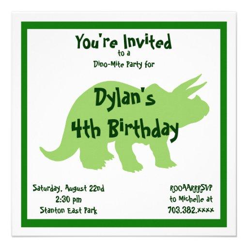 Convites verdes do aniversário do dinossauro do Tr