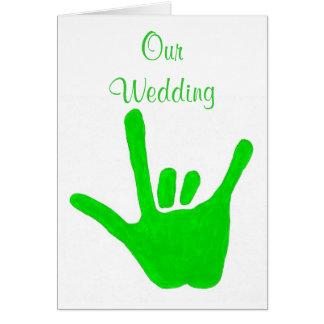 Convites verdes do casamento, amor no linguagem cartão comemorativo