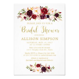 Convites vermelhos de BridalShower do ouro do