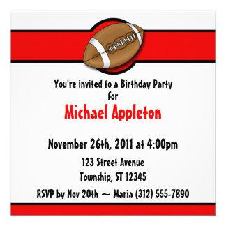 Convites vermelhos do aniversário do futebol