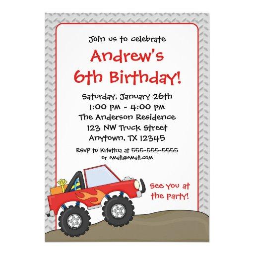 Convites vermelhos do aniversário do monster truck