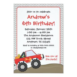 Convites vermelhos do aniversário do monster truck convite 12.7 x 17.78cm
