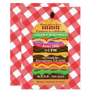 Convites vermelhos do assado do Cookout do verão