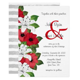 Convites vermelhos do casamento da flor do arando
