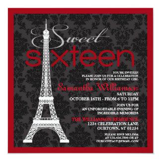 Convites vermelhos do doce 16 de Paris