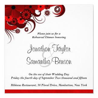 Convites vermelhos do jantar de ensaio do