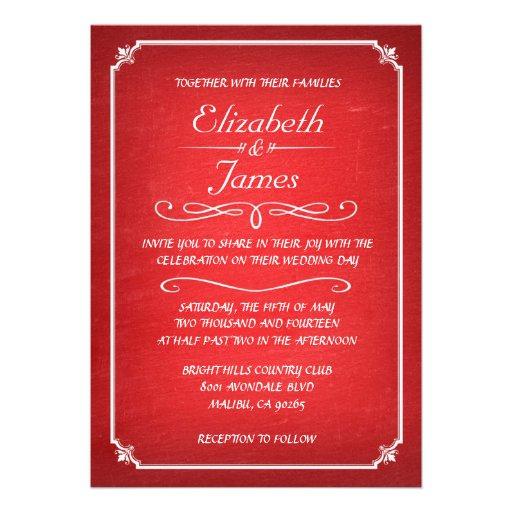 Convites vermelhos e brancos do casamento do quadr
