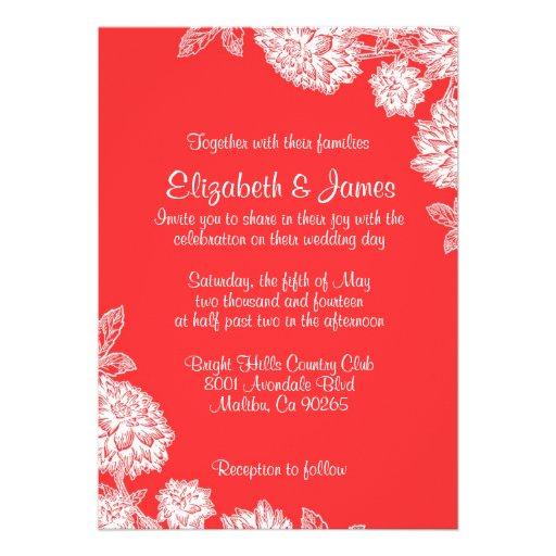 Convites vermelhos e brancos elegantes do casament