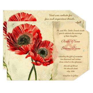 Convites vermelhos românticos rústicos do