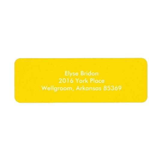 Coordenação superior amarela dourada da cor etiqueta endereço de retorno