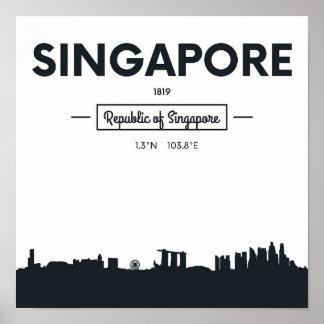 Coordenadas da cidade de Singapore, China   Pôster