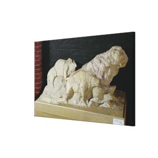 Cópia da escultura dos bisontes, Le Impressão Em Tela