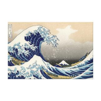 """""""Cópia da grande onda"""" do c.1930 original de Hokus Impressão De Canvas Envolvida"""
