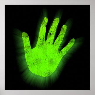 Cópia de incandescência da mão poster