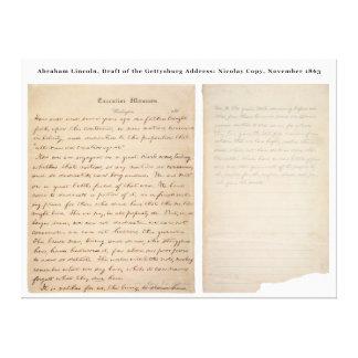 Cópia de Nicolay do endereço de Gettysburg (1863) Impressão Em Tela