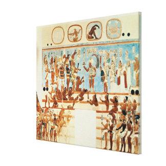 Cópia de uma pintura de parede de Bonampak Impressão De Canvas Envolvidas