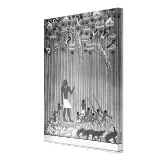 Cópia do alivio pintado egípcio que descreve a impressão em tela